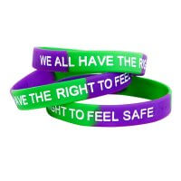 Safe4Kids Wristband With The Text 'We All Have The Right To Feel Safe'