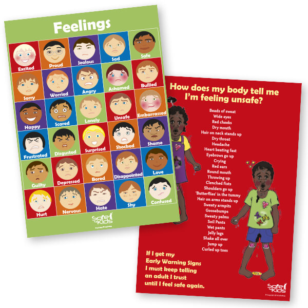 Safe4Kids Feelings Poster and Early Warning Signs Poster Bundle - Aboriginal Children