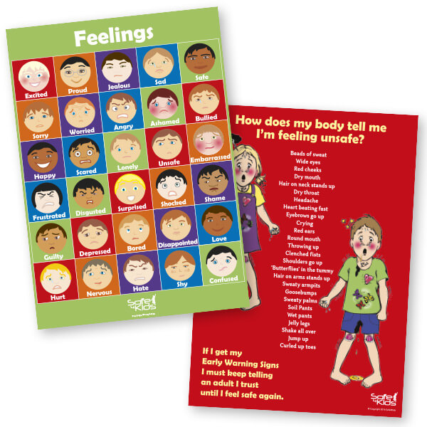 Safe4Kids Feelings Poster and Early Warning Signs Poster Bundle